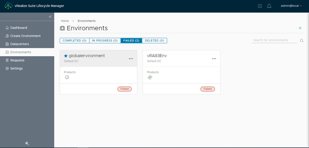 vRealize Suite Lifecycle Manager-Environments-failed.PNG